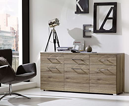 "Kommode Sideboard ""DEAL"" Esszimmer San Remo Eiche dunkel Beleuchtung Softclose"
