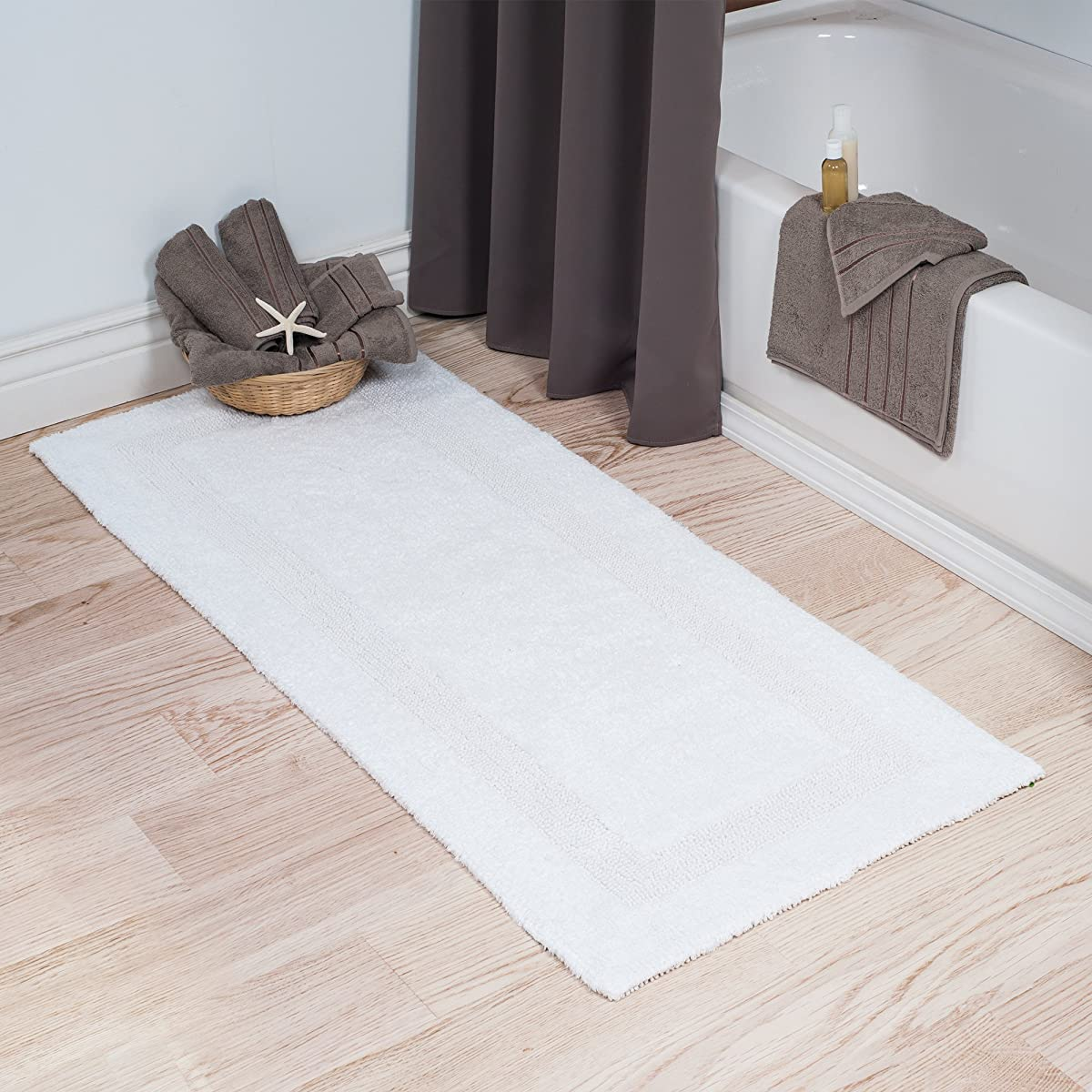 Cotton Bath Mat- Plush 100 Percent Cotton 24x60 Long Bathroom Runner- Reversible, Soft, Absorbent, and Machine Washable Rug by Lavish Home (White)