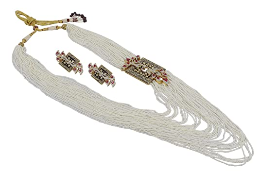 MUCH MORE Pearl beads made Chain Diamond Neckalce Set With Earrings Women available at Amazon for Rs.15599