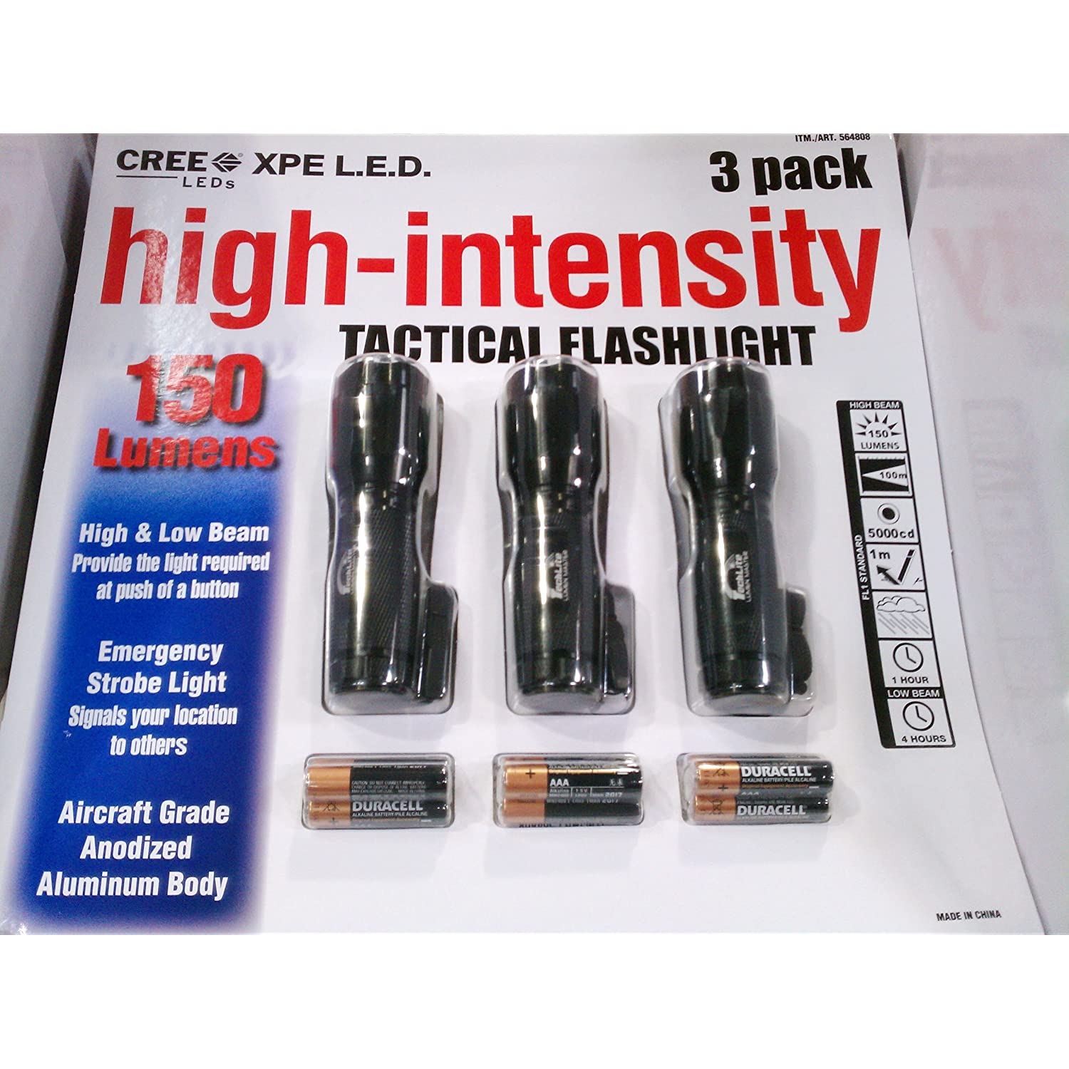 Techlite Lumen Master 150 Lumens High-Intensity CREE XPE L.E.D. Tactical Flashlight 3 pack Reviews