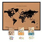 Framed World Map Kit Includes: Cork Push Pin Map, World Flags, Monument and Food Stickers, for Travelers (Color: Black, Tamaño: Framed XL (23.6 x 35.4 inches))