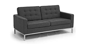 Kardiel Florence Knoll Style Loveseat, Charcoal Cashmere Wool