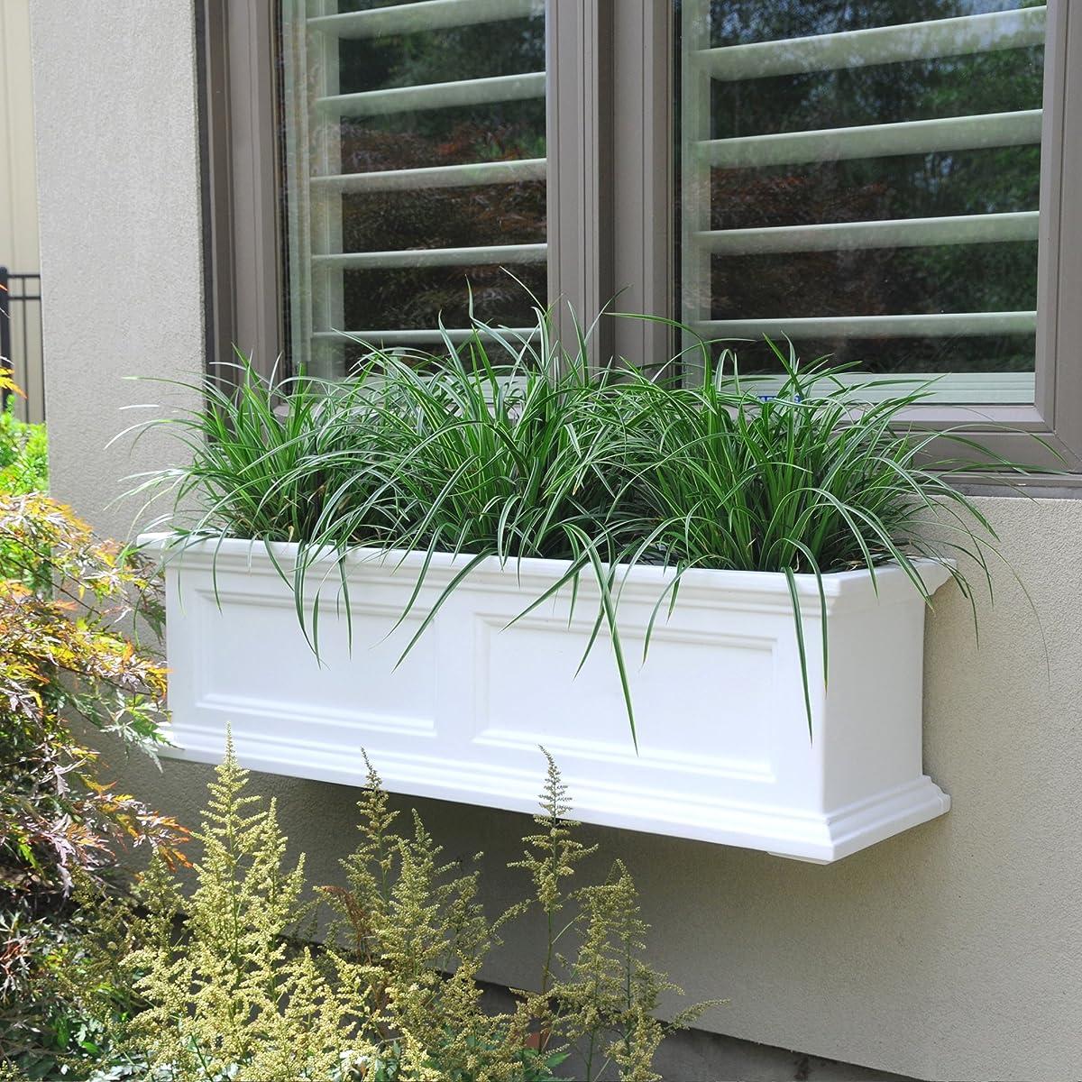 Mayne Fairfield 5822W Window Box Planter, 3-Foot, White