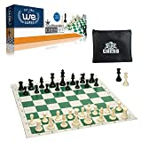 WE Games Tournament Chess Set– Heavy Weighted Chess Pieces with Green Roll-up Chess Board and Zipper Pouch for Chessmen