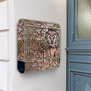 Design Briefkasten Edelstahl Briefkästen 38x42x11 von banjado mit Motiv Eule   Kundenberichte und weitere Informationen