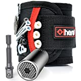 Magnetic Wristband for Holding Tools with Universal Socket Grip - Strong Magnets Tool Holder Armband for Men w/Ratchet Wrench Power Drill Adapter Fathers Day Gifts Tools for Dad, DIY Handyman (Black) (Color: Black, Tamaño: 2 Pack)