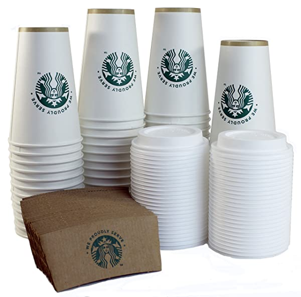 20oz Hot Paper Cups with Lids and Sleeves 50 Pack