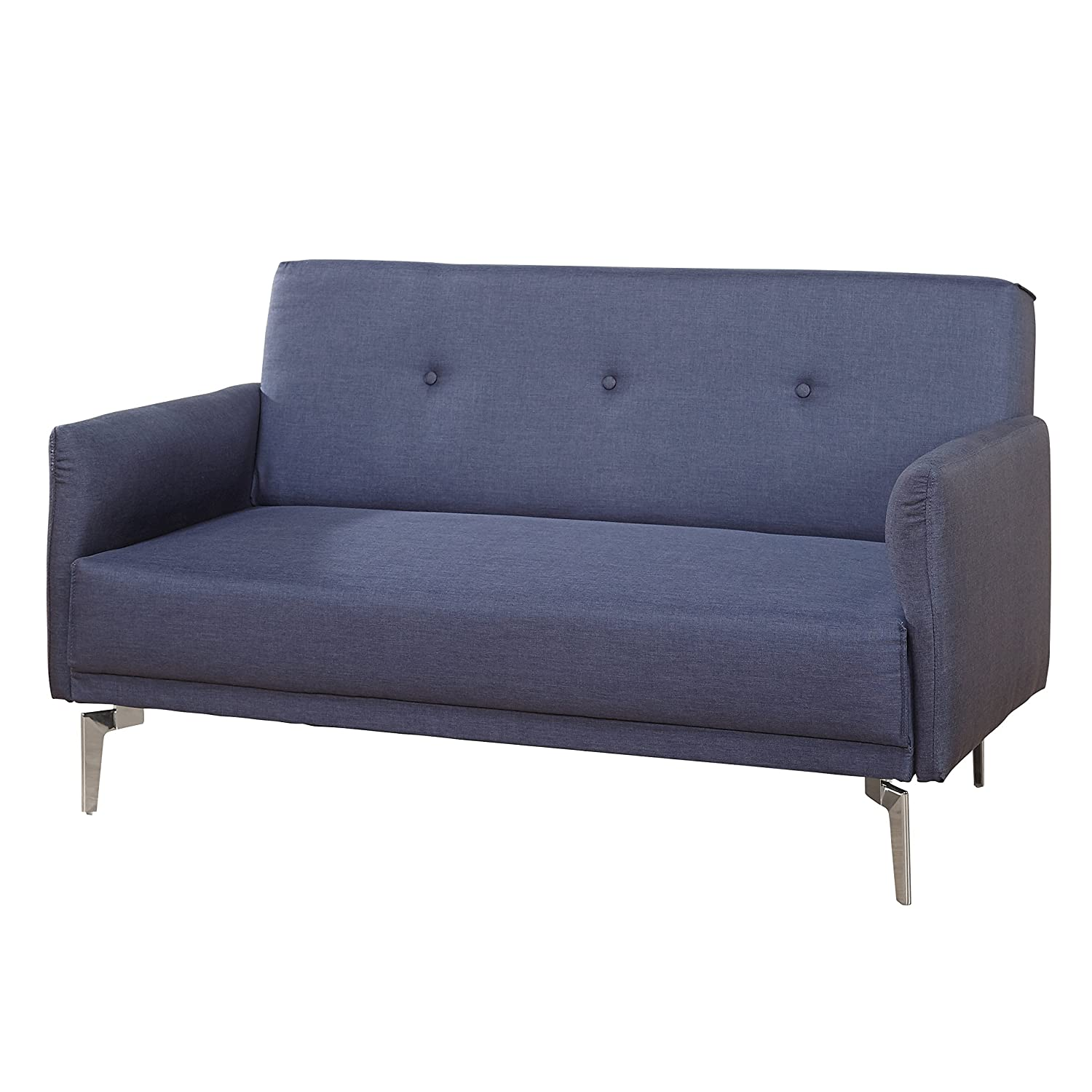 Classic Mid Century Design Franco Loveseat. Fully Upholstered Seat and Body In A Brushed Navy Fabric While Button-