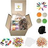 Kids DIY Slime Making Kit Supplies, Black Iron Oxide (Magnetic) Powder, Water Beads, Foam Balls, Glitter, Glow Powder, Polymer Clay Slices