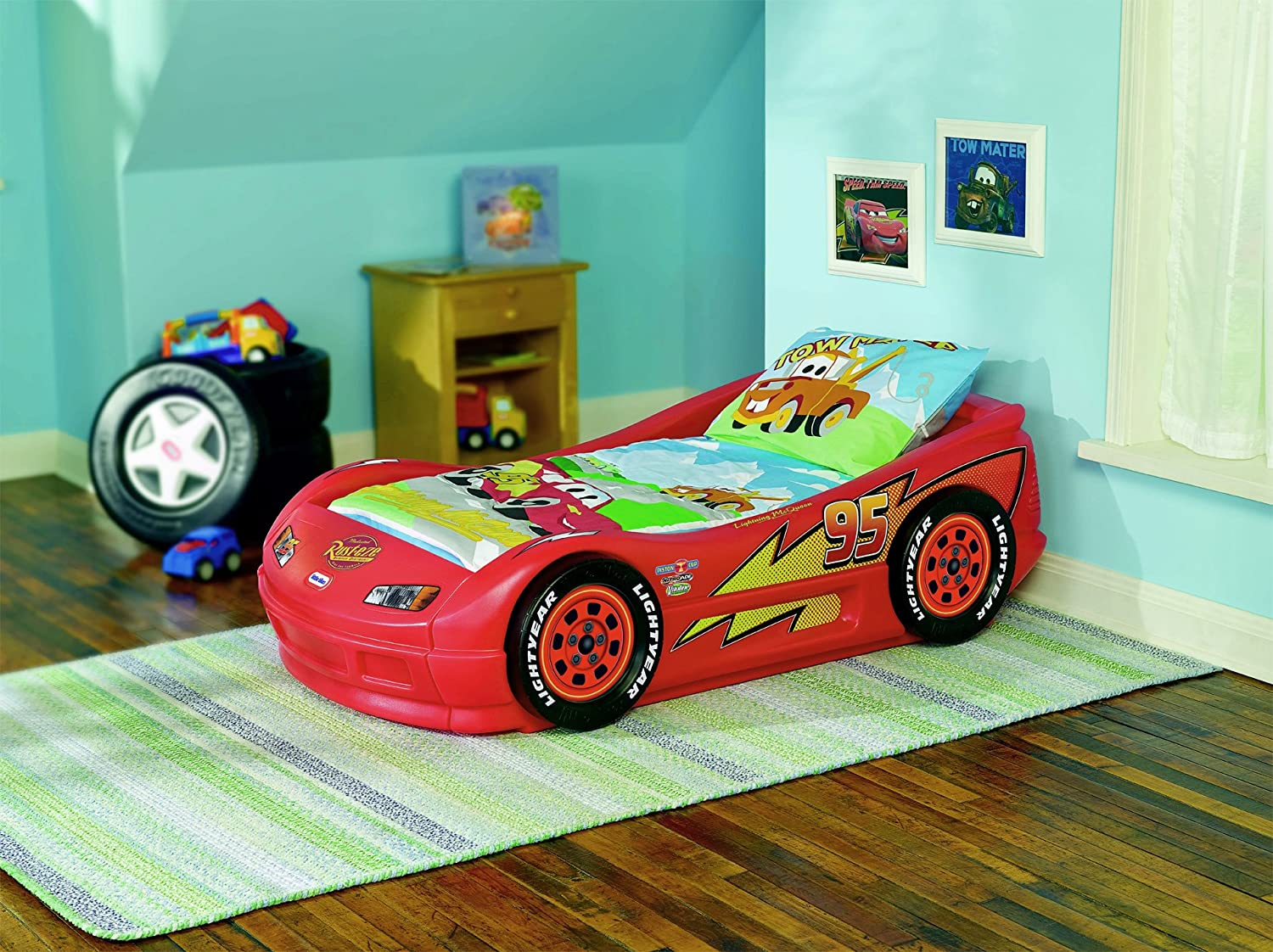Little tikes lightning mcqueen roadster toddler bed one for Disney car bedroom ideas