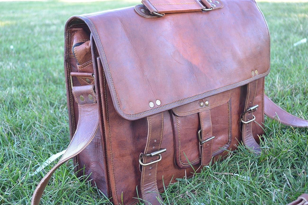 PL 16 Inch Vintage Leather Messenger Bag Briefcase / Fits upto 15.6 Inch Laptop 1