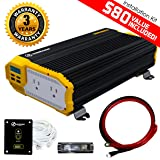 KRIËGER 1500 Watt 12V Power Inverter Dual 110V AC outlets, Installation kit included, Automotive back up power supply for Blenders, vacuums, power tools MET approved according to UL and CSA. (Tamaño: 1500W Inverter)