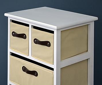 landhaus kommode schrank 105 cm h he wei beige badregal hochregal mit 6 k rben in braun dc620. Black Bedroom Furniture Sets. Home Design Ideas