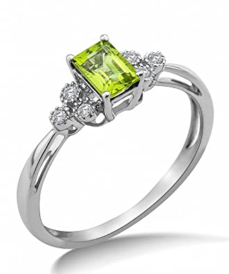 Miore 9ct White Gold Peridot and Diamond Ring SA9017R