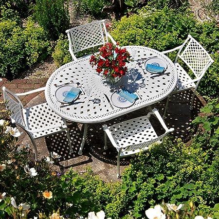 Weißes June 150 x 95cm Gartenmöbelset Aluminum - 1 Weißer JUNE Tisch + 6 Weiße APRIL Stuhle