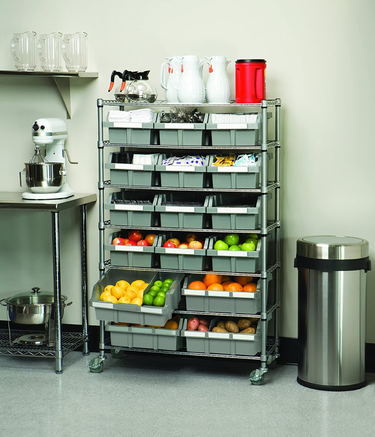 Industrial Kitchen Shelving: Rolling Bins, Baskets, Carts & Containers