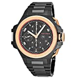 Snyper Ironclad Bicolor Rose Gold Mens Automatic Chronograph Watch - 44mm Analog Black Face with Day Date Sapphire Crystal - Swiss Made Black Stainless Steel Automatic Watches For Men 50.450.2M