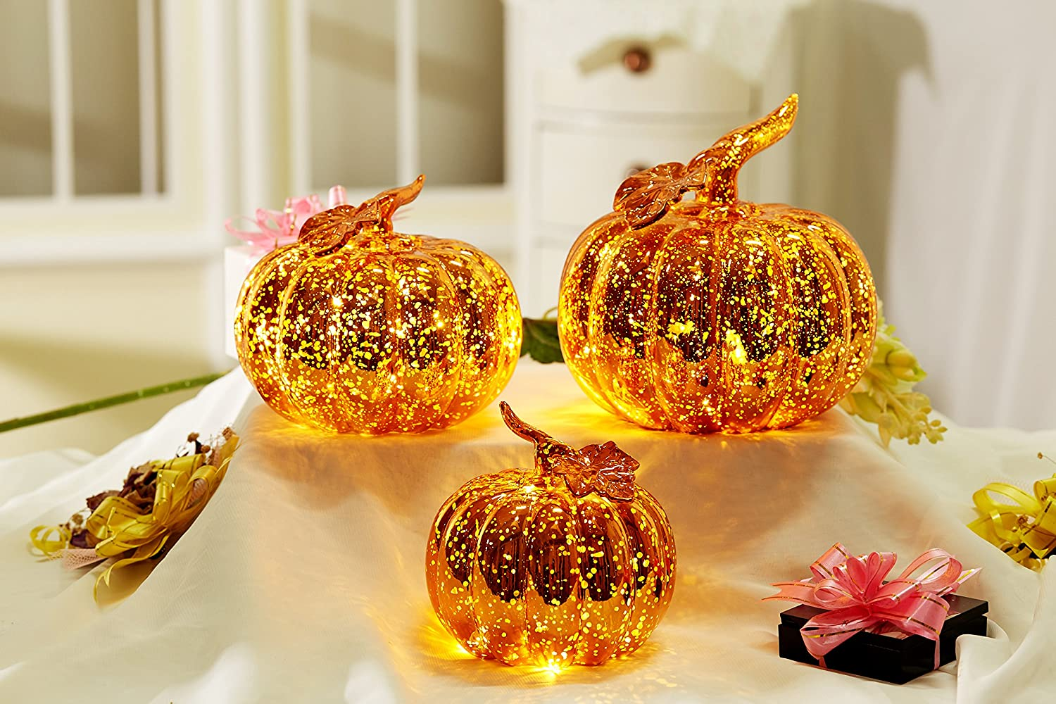 Youseexmas Lighting up Thanksgiving Mercury Glass Halloween Pumpkin Jack O' Lantern with Timer Pack of 3