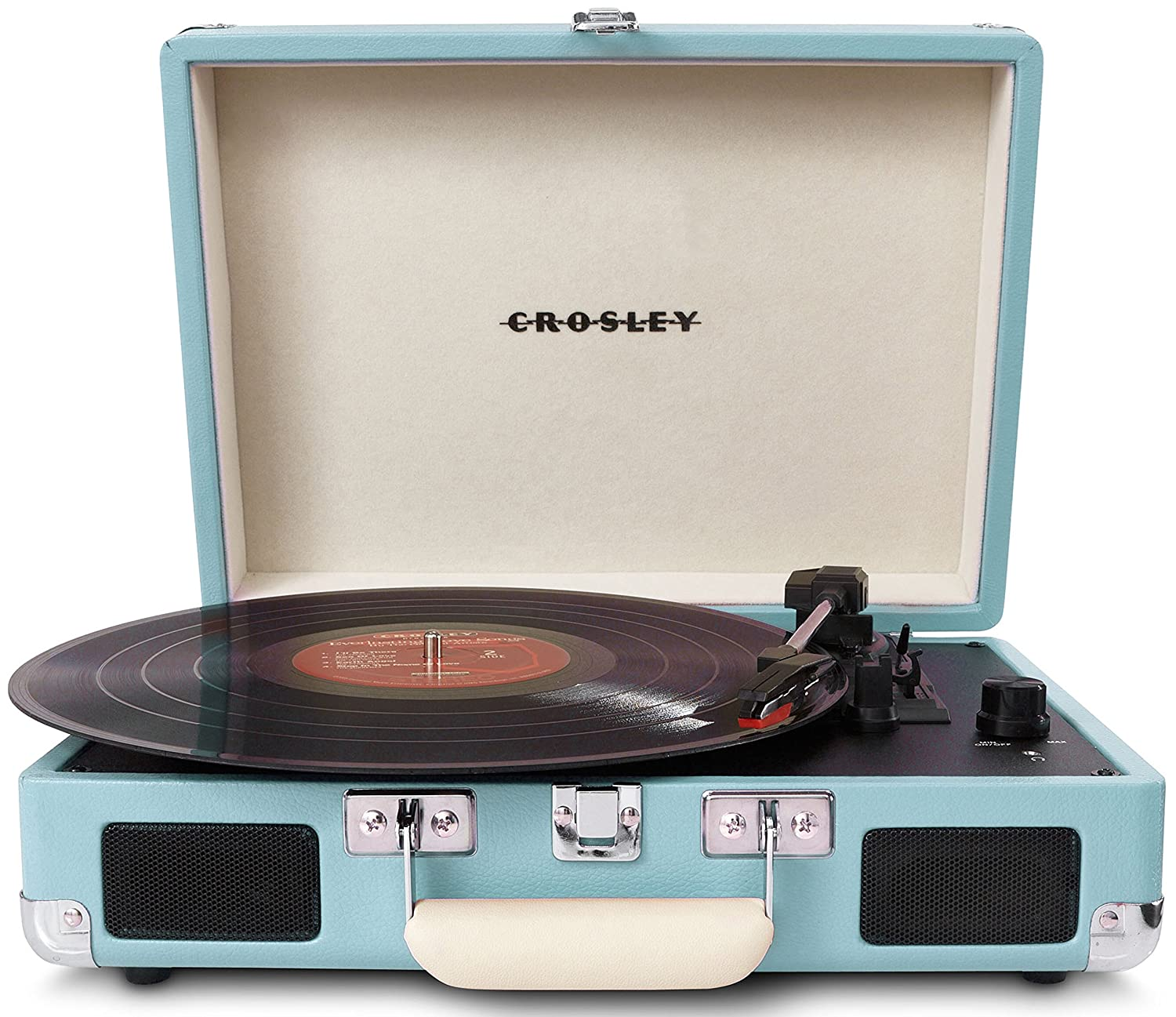 Roll over image to zoom in      Crosley CR8005A-TU Cruiser Portable Turntable (Turquoise)