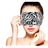 Heated Microwavable Eye Mask by FOMI Care | Lavender Scented, Reusable, Compress for Migraines, Dry Eyes, Headaches, and Sinus Relief | Soothing Moist Heat Wrap (Zebra) (Color: Zebra)