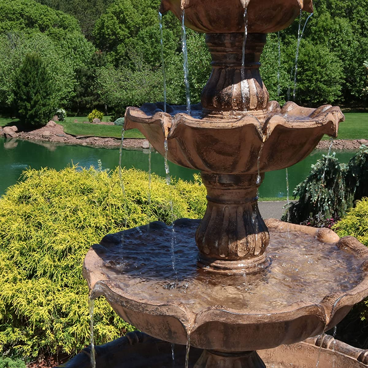 Sunnydaze Large Tiered Ball Outdoor Fountain, 80 Inch Tall