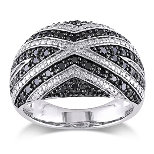 Sterling Silver Black Diamond Fashion Ring (0.5 Cttw)