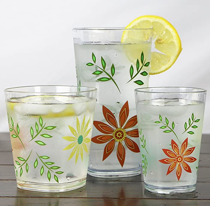 Corelle Coordinates Happy Days Acrylic Square Juice Glasses via Amazon