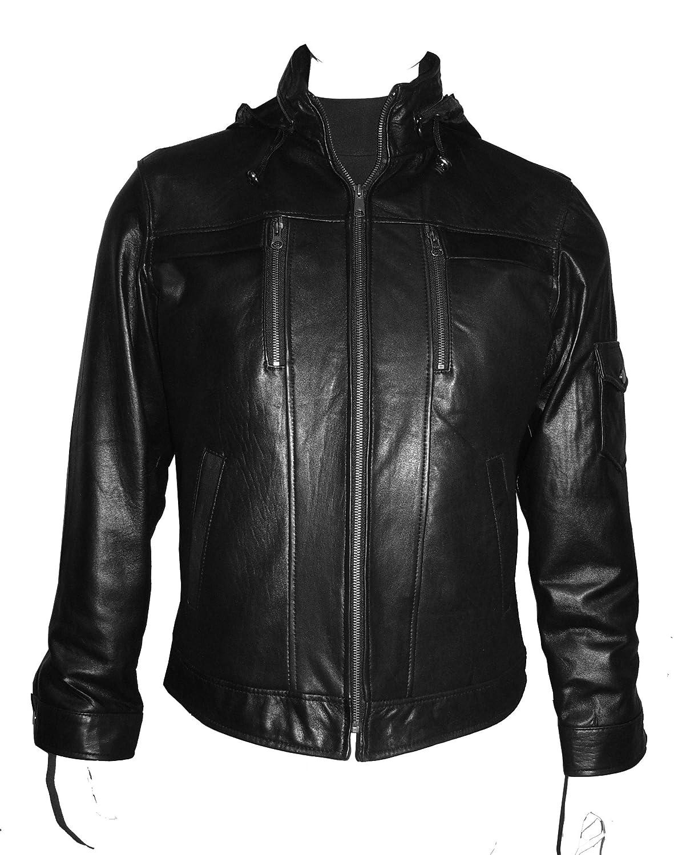Nettailor 1118 Herren weich Lamm schwarz Abzugshaube ed Bikers stilvoll Lederjacke jetzt bestellen