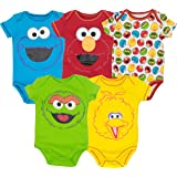 Sesame Street Baby Boy Girl 5 Pack Bodysuits - Elmo, Cookie Monster, Oscar and Big Bird (18 Months) (Color: Multi, Tamaño: 18 Months)
