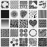 SOTOGO 25 Pcs Pattern Square Shape Journal Stencil Plastic Planner Stencils Journal/Notebook/Diary/Scrapbook DIY Drawing Template Stencil (Color: SET B, Tamaño: Style B)