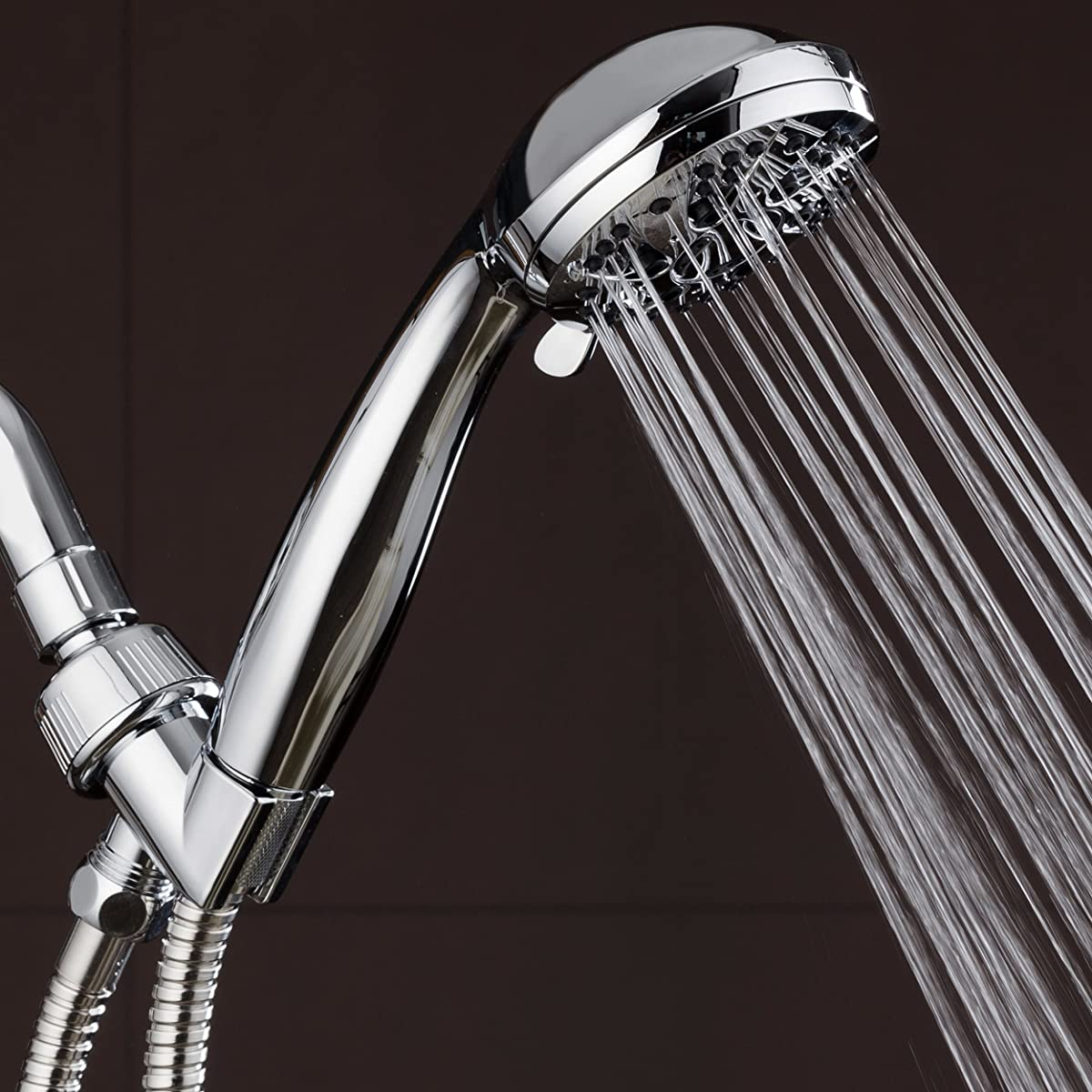 "AquaDance High Pressure 6-Setting 3.5"" Chrome Face Handheld Shower with Hose for the Ultimate Shower Experience! Officially Independently Tested to Meet Strict US Quality & Performance Standards"