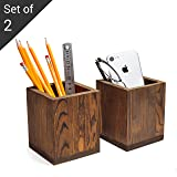 Set of 2 Natural Grain Wood Desktop Pen & Pencil Holder Cups, Office Supplies Organizer, Brown (Color: Brown, Tamaño: Medium)