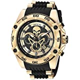 Invicta Men's 'Marvel' Quartz Stainless Steel and Silicone Watch, Color:Black (Model: 26860) (Color: Black/Gold)
