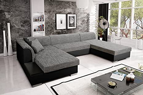 Sofa Couchgarnitur Couch Sofagarnitur KRETA 6 U Polstergarnitur Polsterecke Wohnlandschaft mit Schlaffunktion