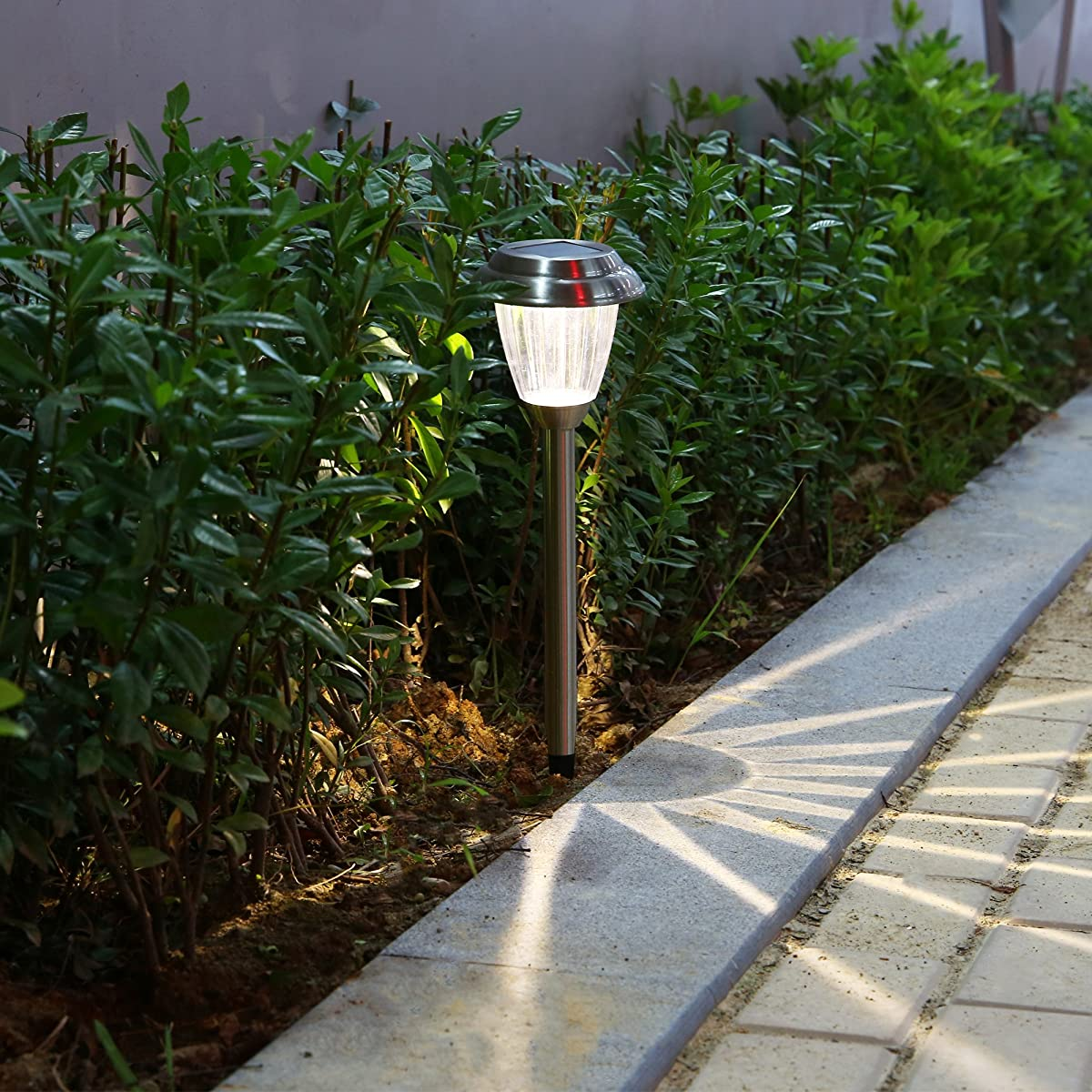 Solar LED Outdoor Lights 8-Pack Stainless Steel Pathway Landscape lights