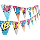 Superhero Pink Happy Birthday Banner Pennant (Color: pink, brown)
