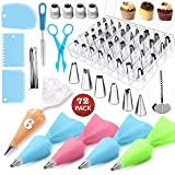FantasyDay 72-Piece Cake Decorating Supplies Baking Tools with 42 Piping Nozzles Icing Tips, 6 Disposable Bags, 1 Brush, 3 Reusable Pastry Bags, 4 Couplers, 1 Flower Nail, 3 Scrapers, 1 Flower Lifter (Color: #7)