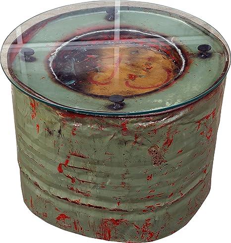 Metall-Beistelltisch aus recyceltem Dieselfass mit Glasplatte / Kaffeetische & Bodentische