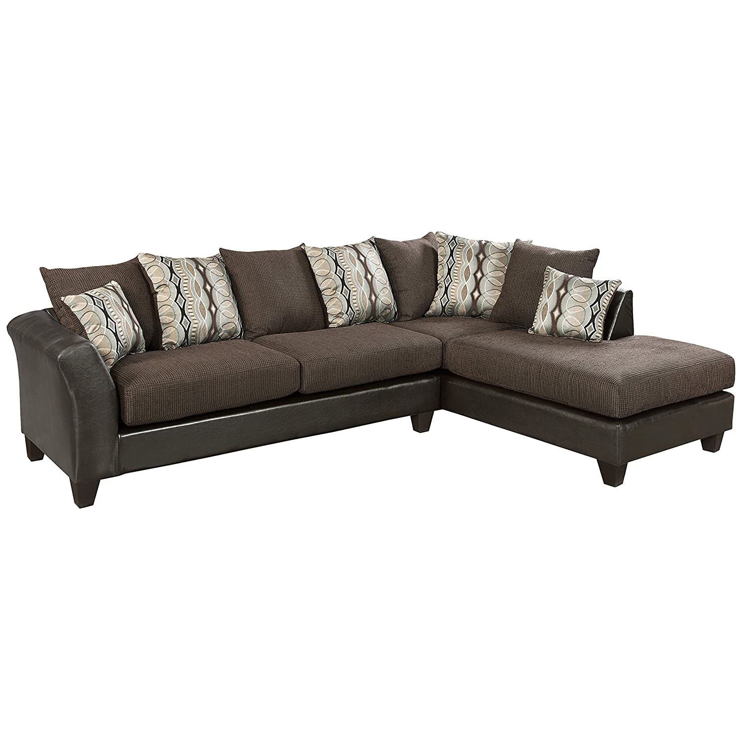 Flash Furniture Riverstone Rip Sable Chenille Sectional Sofa - Brown