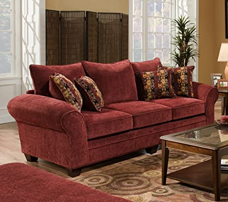 Chelsea Home Furniture Clearlake Sofa, Masterpiece Burgundy/Palmero Mosaic Pillows(2)