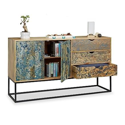 Native Home 10021172 Credenza Effetto Marmo, Comò a 2 Ante, Madia 3 cassetti, Dispensa Buffet Massiccio HxLxP: 90 x 160 x 45 cm ca.