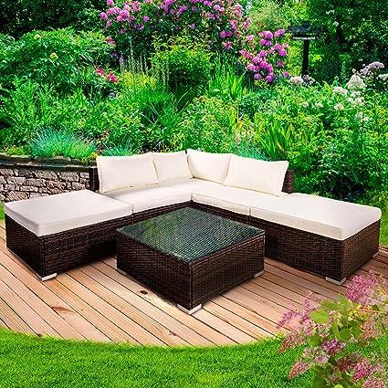 "Poly Rattan Gartenmöbel Lounge Möbel Sitzgarnitur Gartengarnitur Sitzgruppe Sofa ""GRACE"" Farbe Braun"