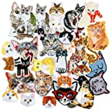 SIX VANKA Cute Cat Patches 36pcs Random Assorted Iron On Embroidered Applique Sew on for Kids DIY Crafts Clothes Backpacks (Color: Cat Appliques Patches Set)