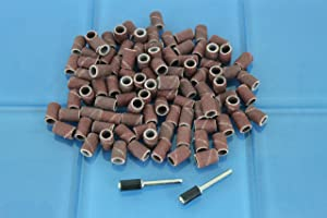 TEMO 100 pc 1/4 Inch (6 mm) Sand Drum Grit 60 Coarse with 2 pc 1/8 Inch (3 mm) Mandrel for Dremel and Compatible Rotary Tools (Tamaño: 1/4 #60)