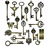 Vintage Skeleton Keys Charm Set in Antique Bronze Pack of 18 Keys, 18 Different Style, No Repeat (Bronze) (Color: Bronze, Tamaño: Length From 45mm to 93mm)
