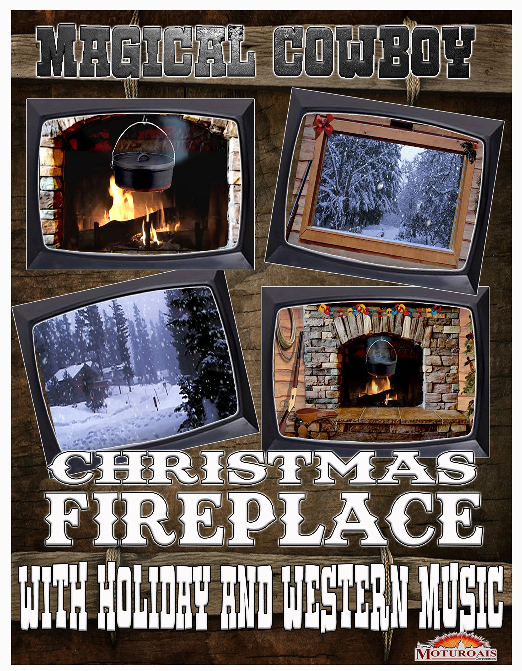 Magical Cowboy Christmas Fireplace With Holiday And Western Music