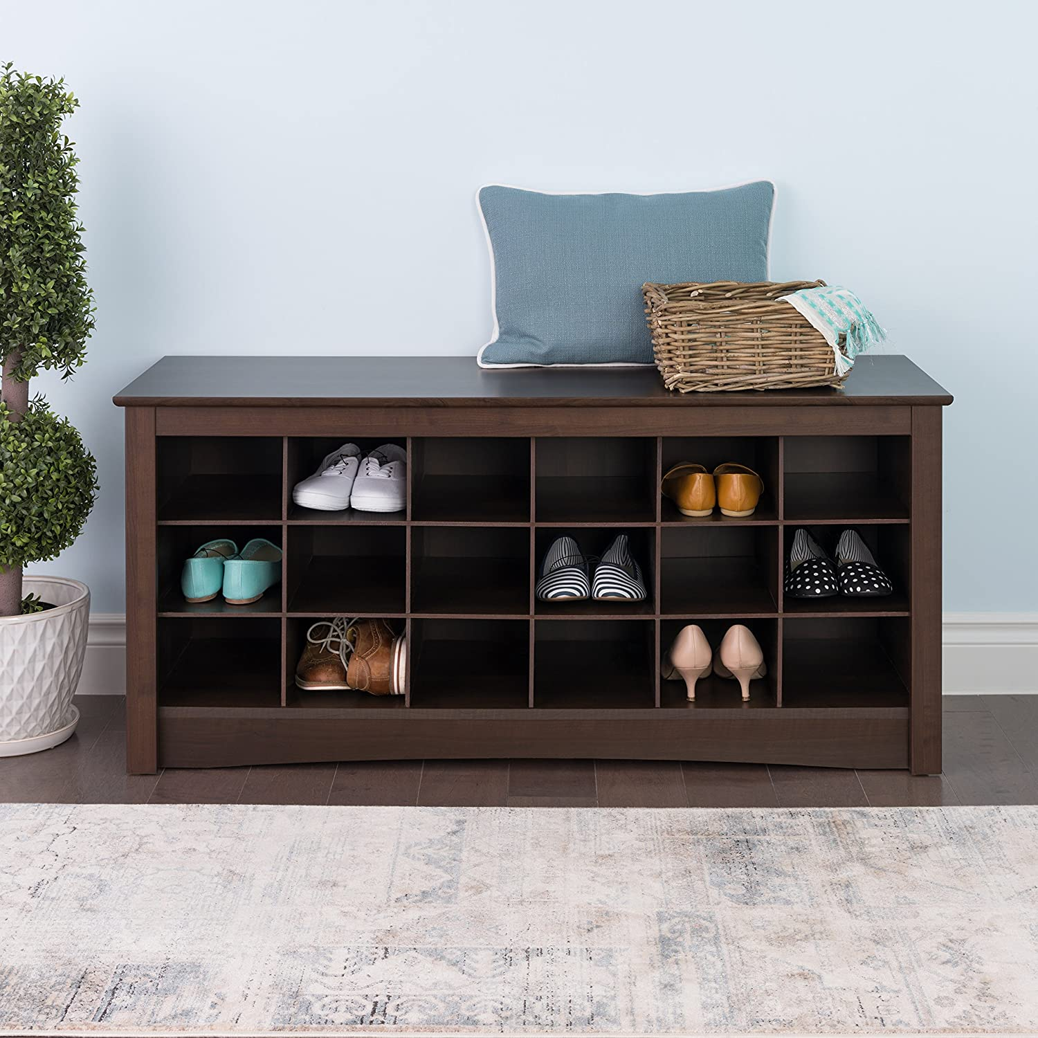 entryway benches with storage organizing | Shoe Storage Cubbie Entryway Bench Espresso Organizer Rack ...