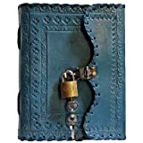 Prastara Genuine Leather Cover Lock Diary 200 Pages, 5 x 7 Inches (Blue) (Color: Blue, Tamaño: 7x1.5x3)