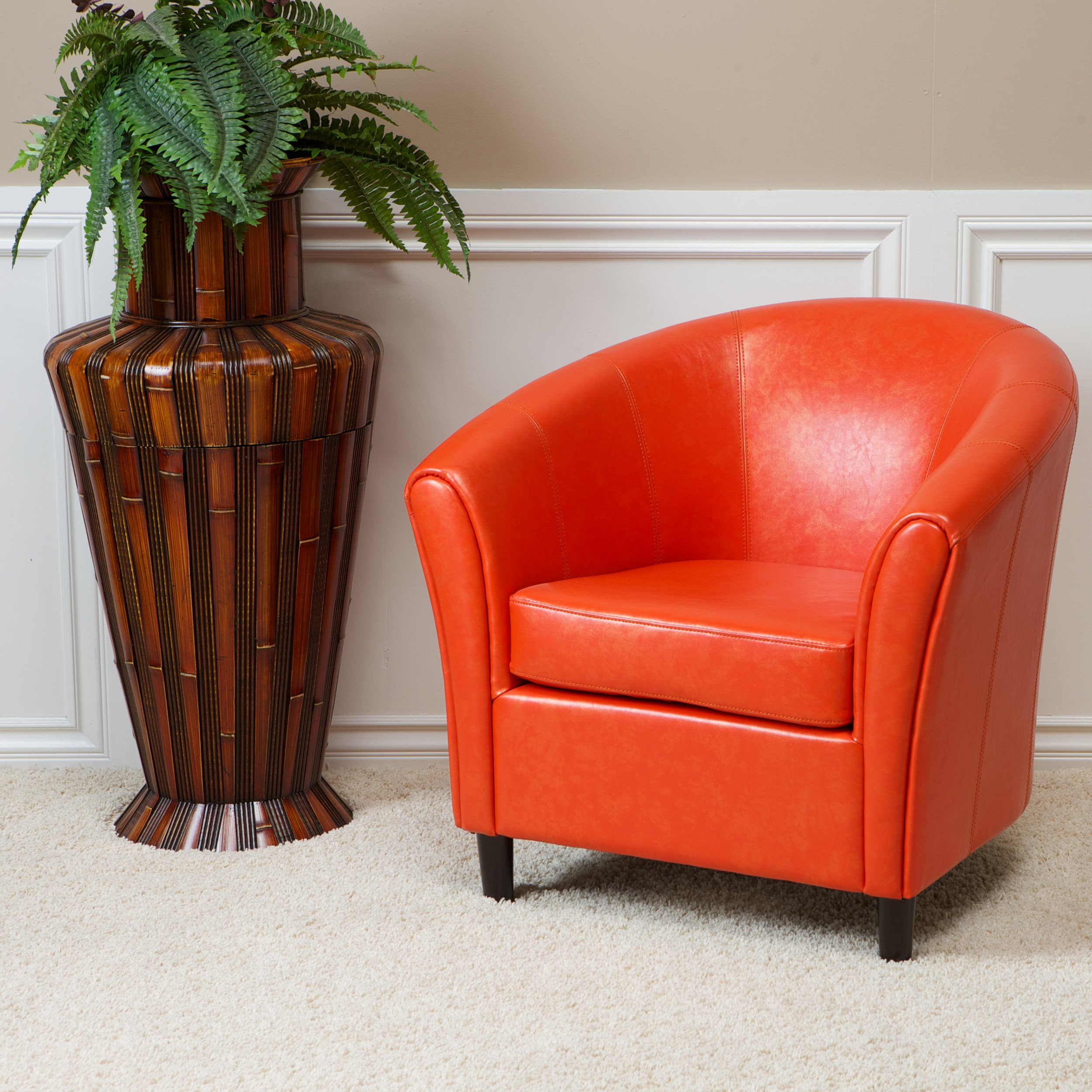 Best Selling Napoli Orange Leather Club Chair FurnitureNdecor