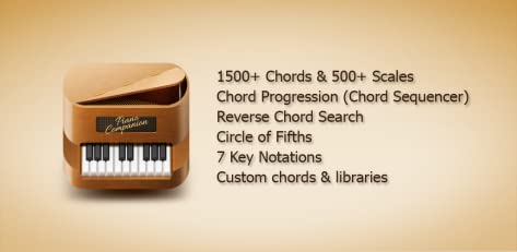 Piano Companion: chords, scales, chord progression, circle of 5ths